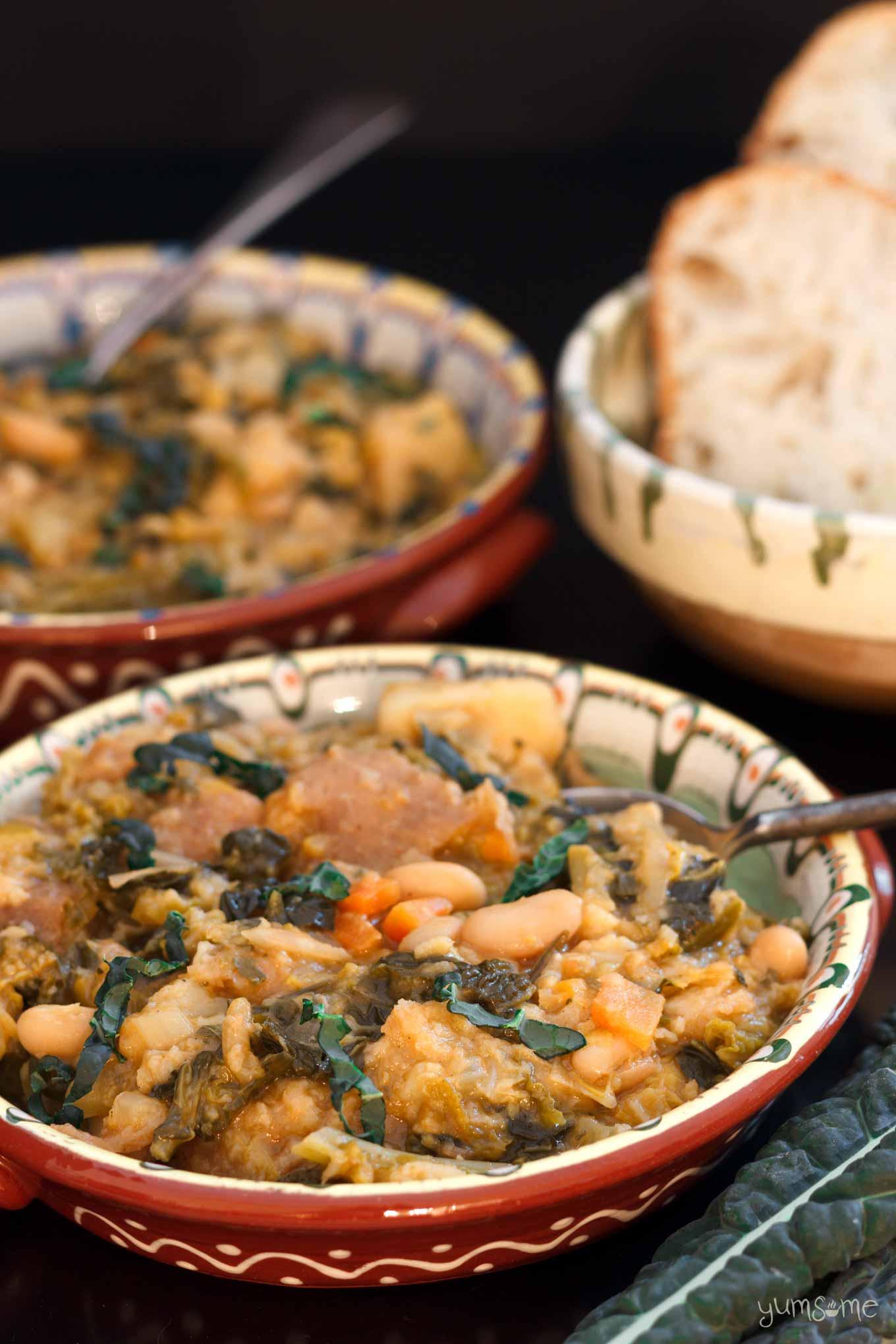 a bowl of vegan ribollita | yumsome.com
