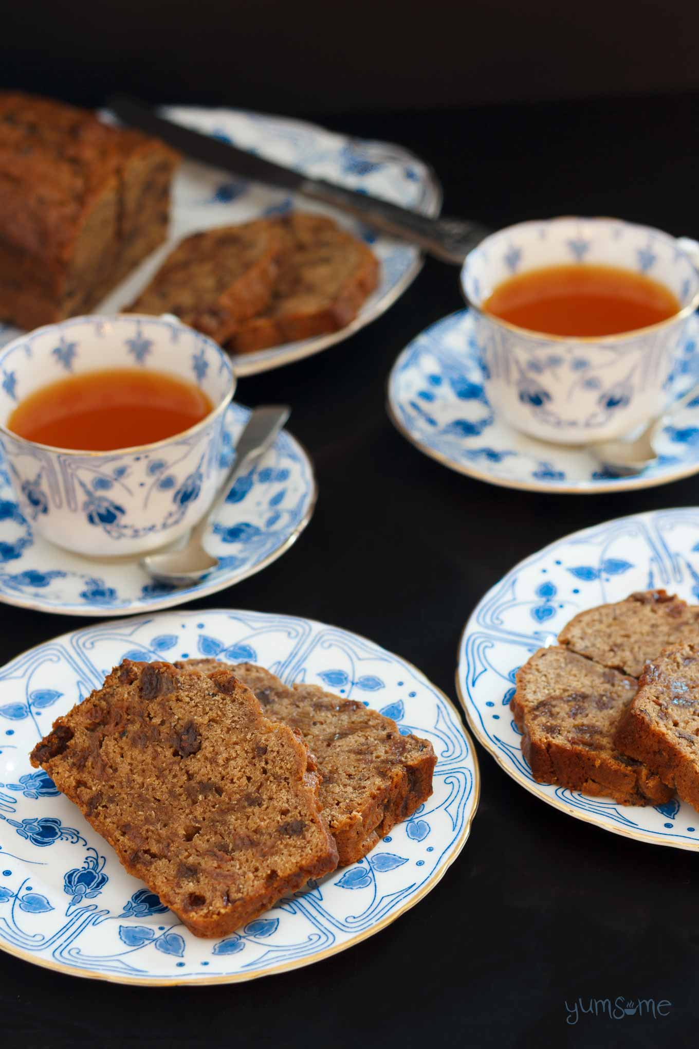 afternoon tea with vegan english tea loaf and earl grey tea | yumsome.com