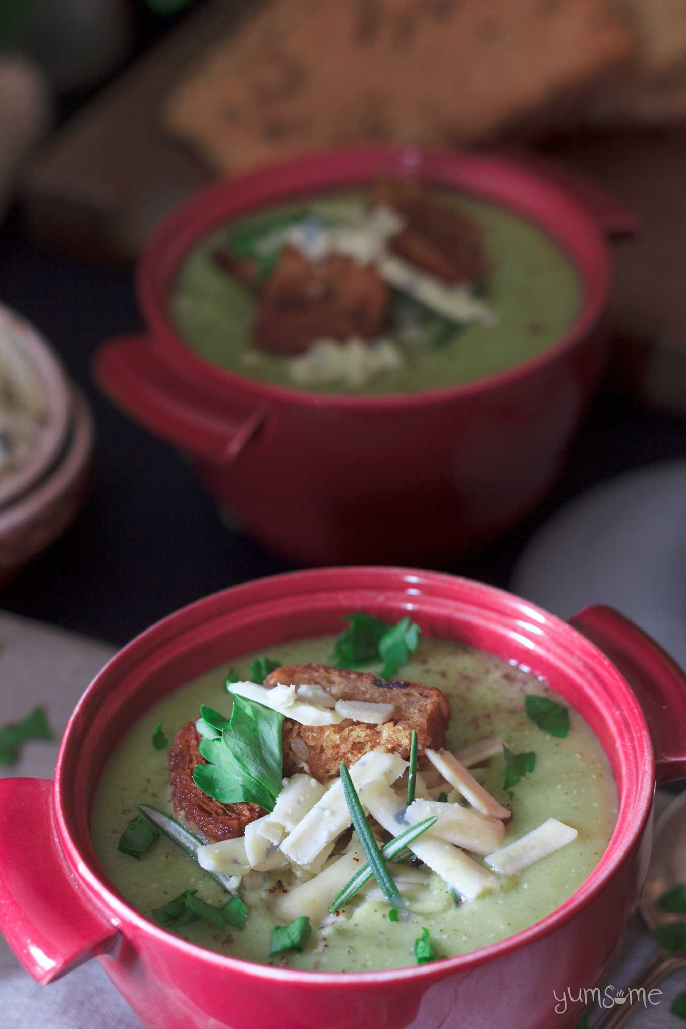 a bowl of 6 minute vegan broccoli and cheese blender soup | yumsome.com