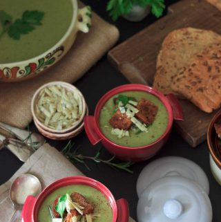 hero image: 6 minute vegan broccoli and cheese blender soup | yumsome.com