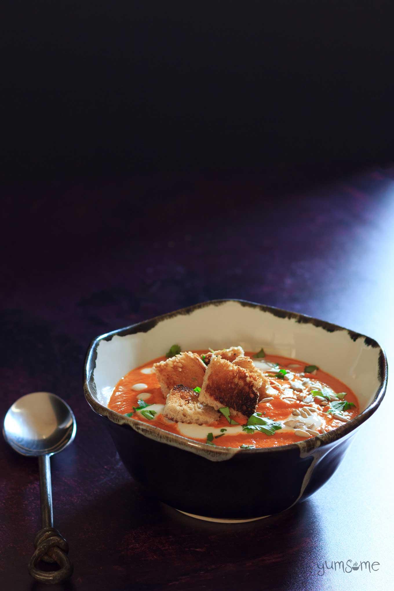 a bowl of Creamy vegan tomato bisque | yumsome.com