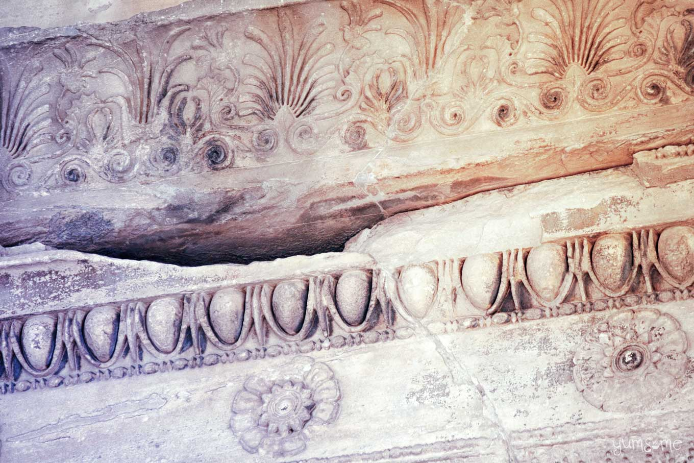 Egg-and-dart and foliage sculptural detail on the pediment of the Erechtheion | yumsome.com