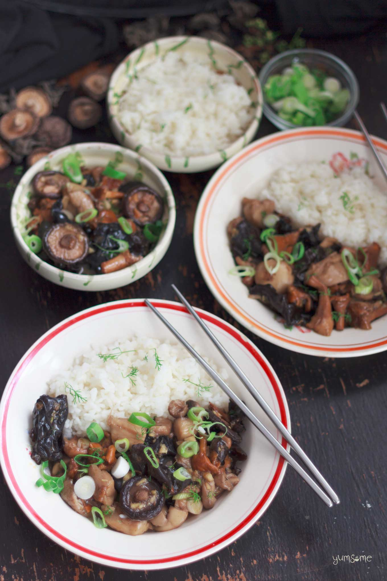 several bowls of asian-style mushrooms with ginger | yumsome.com