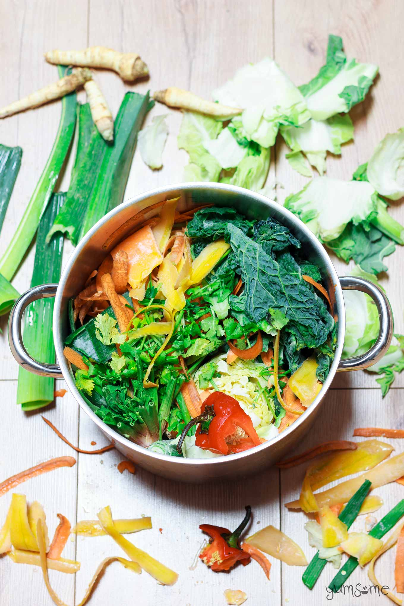 a pan of vegetable scraps | yumsome.com