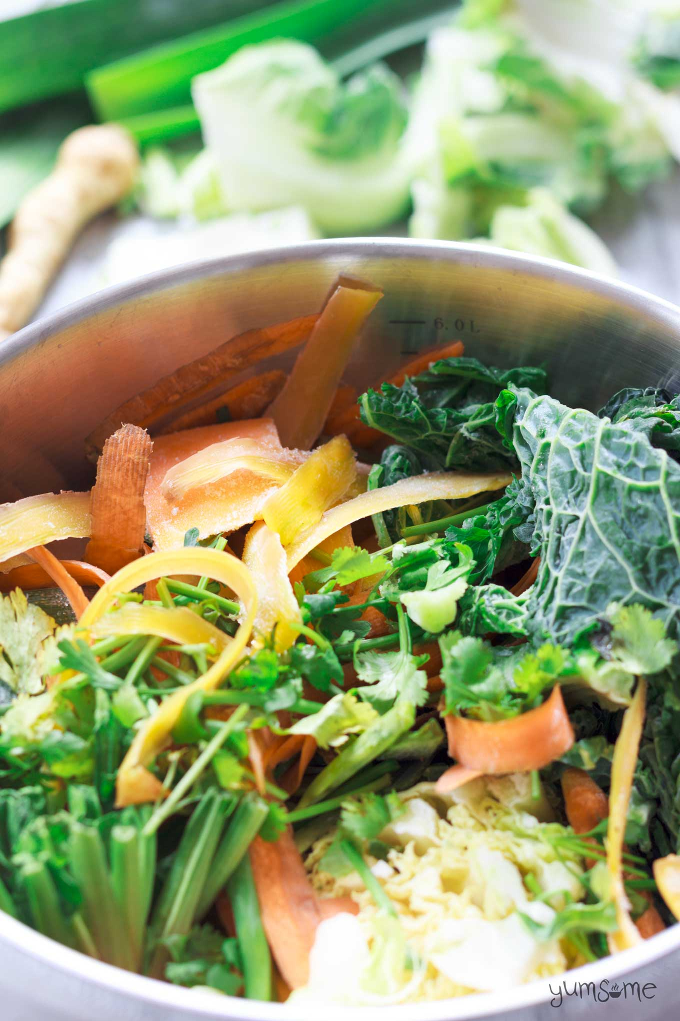 closeup of a pan of vegetable scraps | yumsome.com