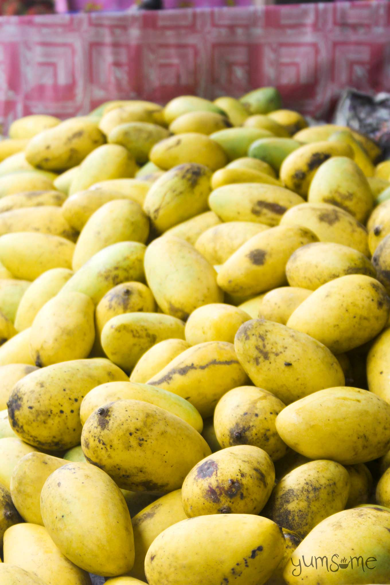 ripe yellow mangoes on a market stall in Thailand | yumsome.com