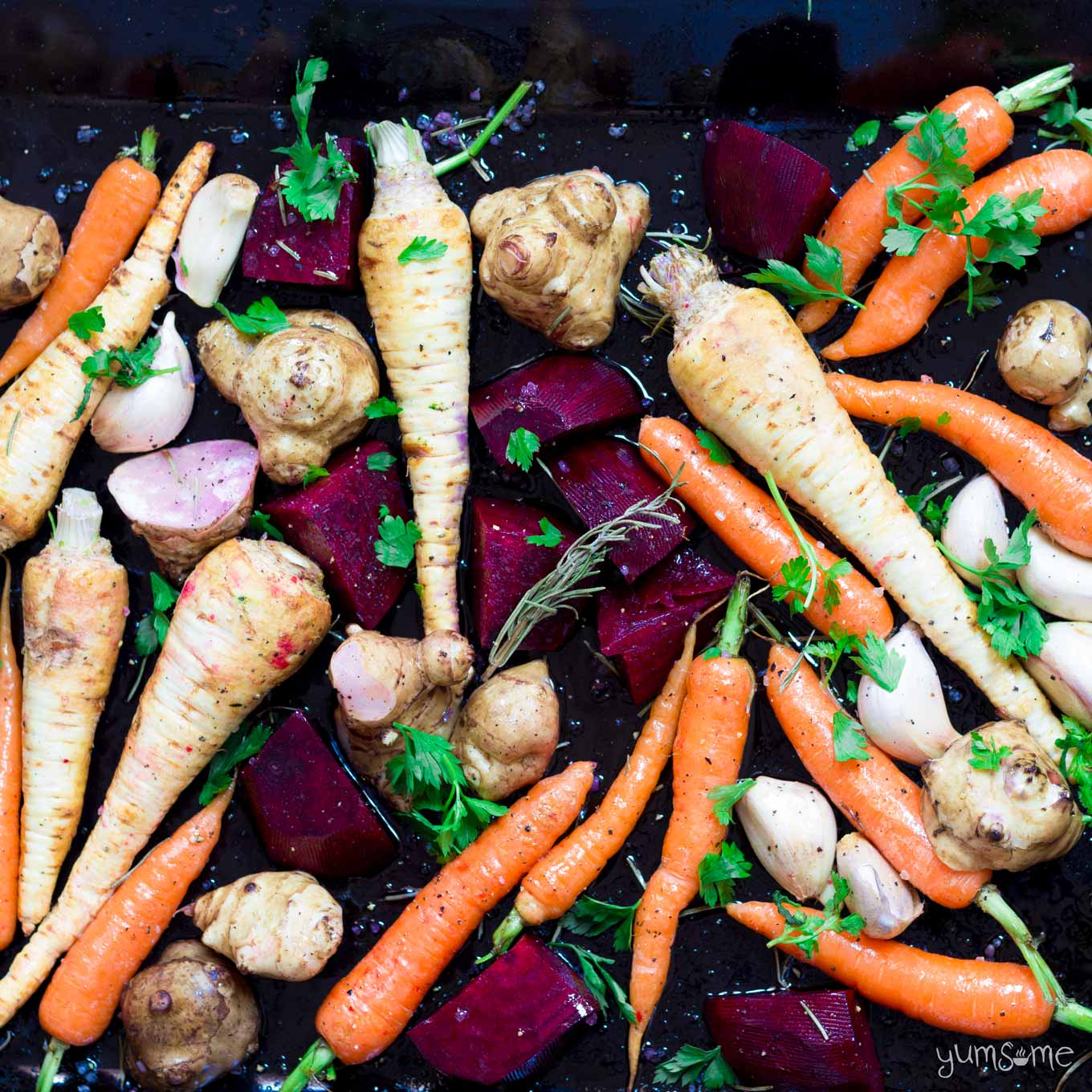 a selection of raw root vegetables | yumsome.com