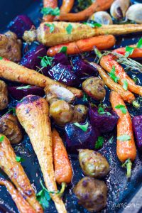 a tray of maple roasted root vegetables yumsome.com