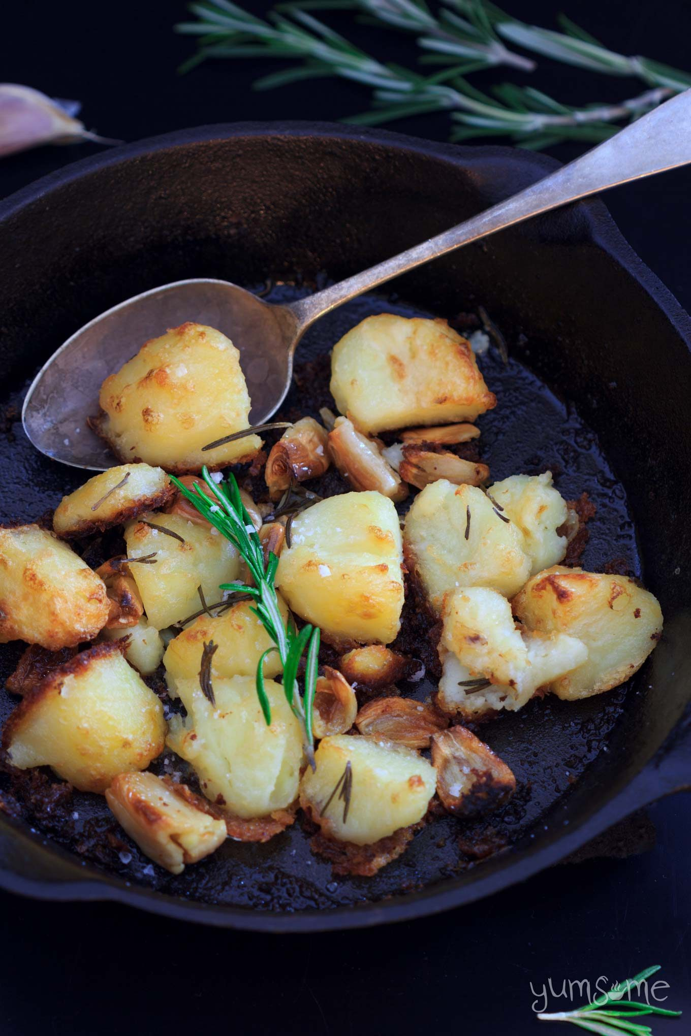 mayo roast potatoes in a skillet   yumsome.com