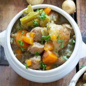 overhead shot of a bowl of simple vegan Irish stew | yumsome.com
