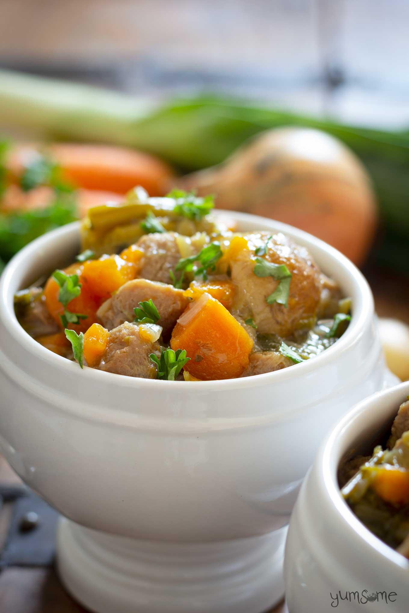 Simple vegan Irish stew in a white bowl.