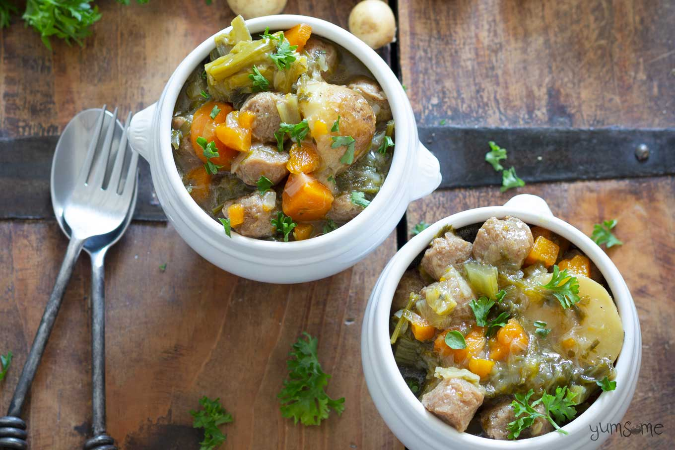two bowls of simple vegan Irish stew | yumsome.com