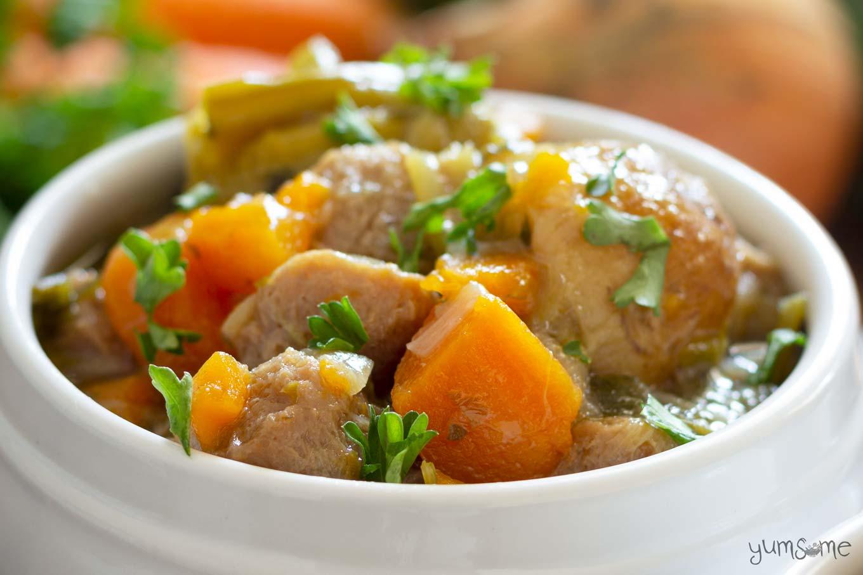 A bowl of simple vegan Irish stew.