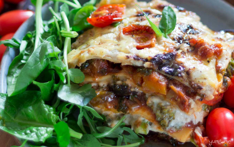 closeup shot of a plate of loaded vegan lasagne | yumsome.com