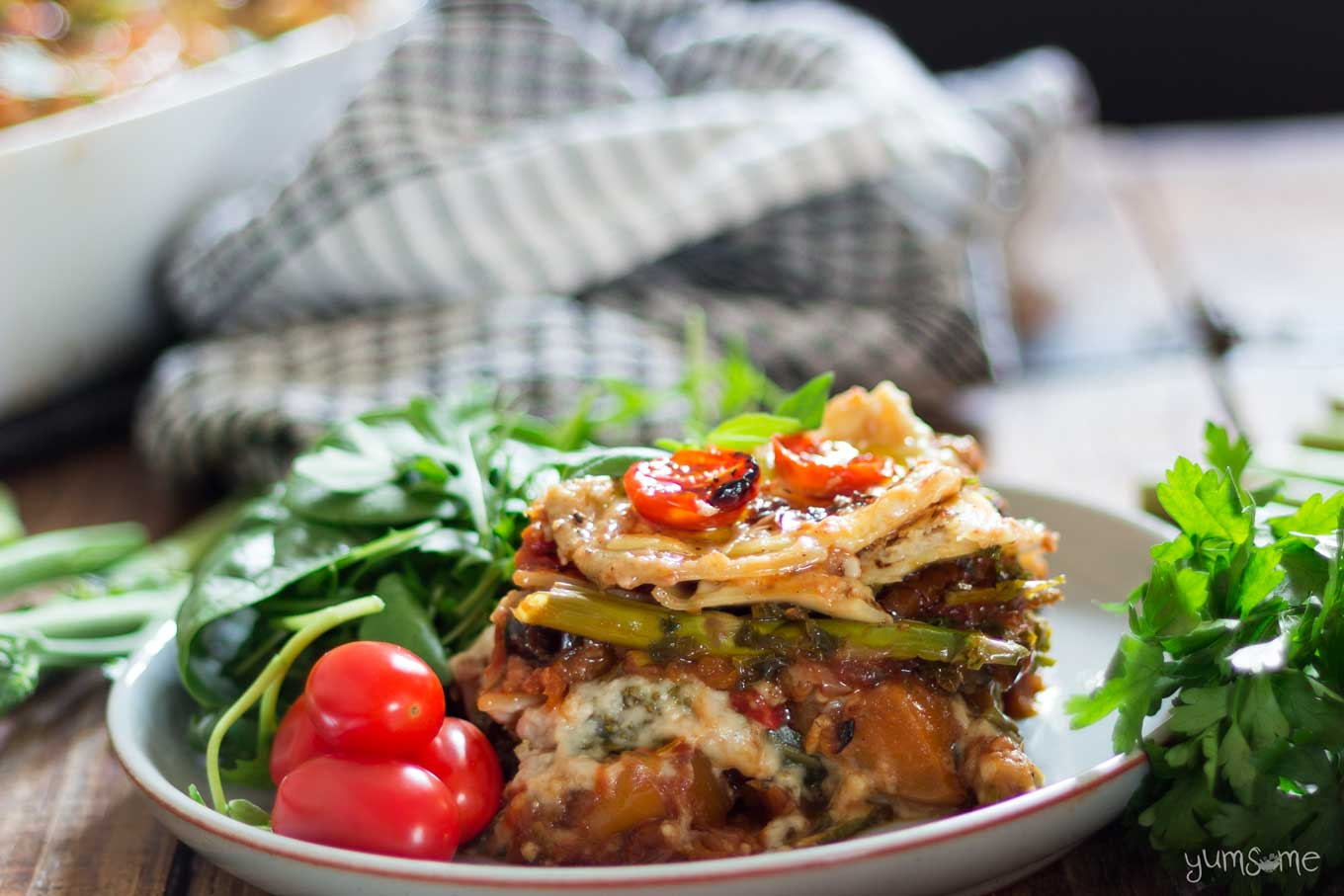 a plate of loaded vegan lasagne | yumsome.com