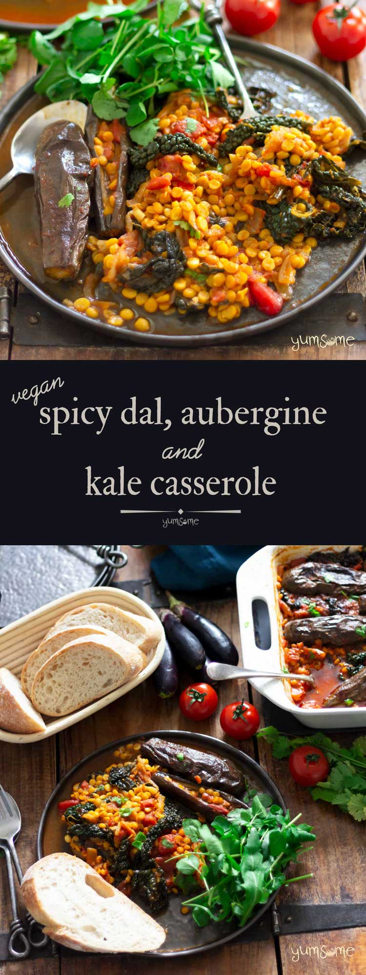 Spicy Dal, Aubergine, and Kale Casserole
