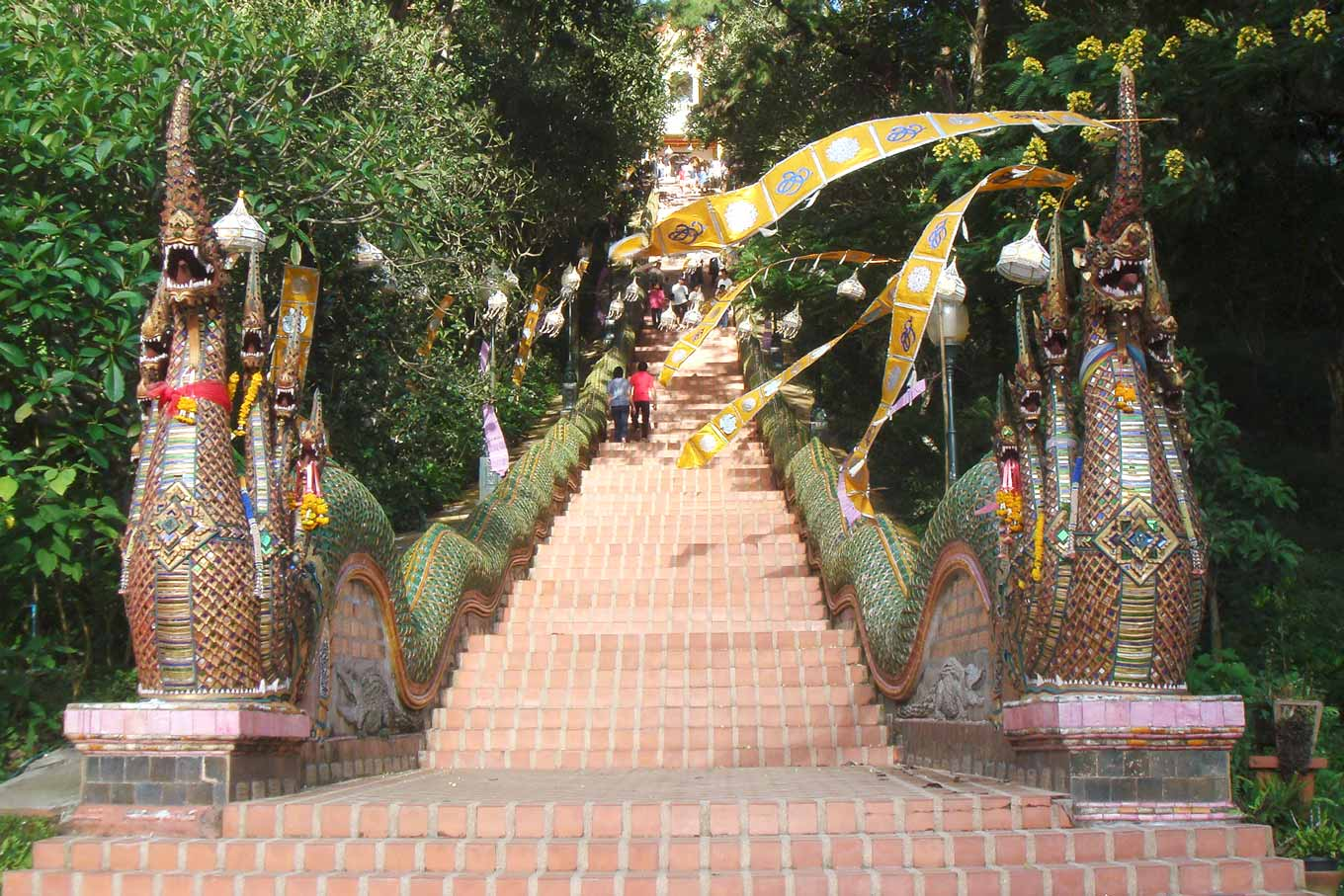 The naga staircase leading up to Wat Phra That Doi Suthep.