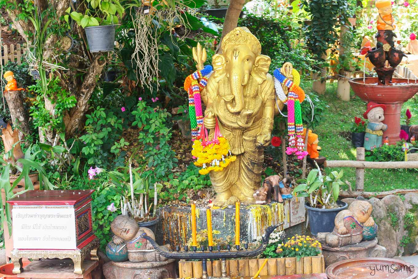 A shrine and offerings dedicated to the Hindu god, Ganesha.