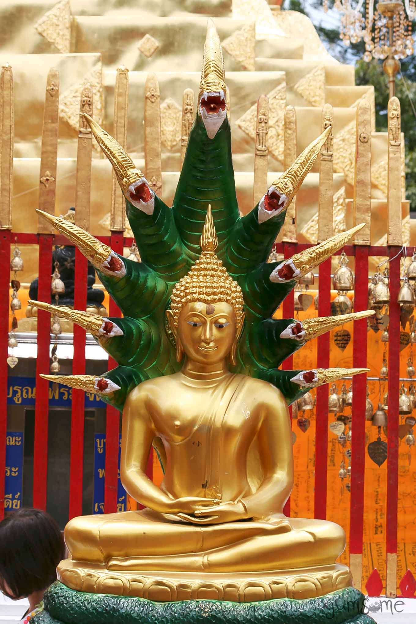 Golden Muchalinda Buddha statue, with an emerald green serpent canopy.
