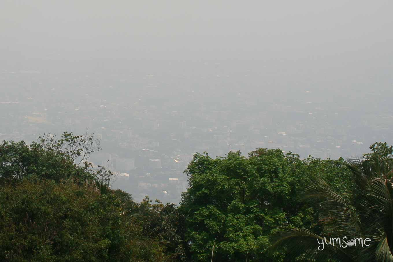 Smog from the burning season obscuring the view over Chiang Mai.