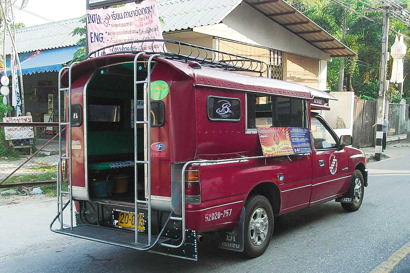 A red songthaew in Chiang Mai.