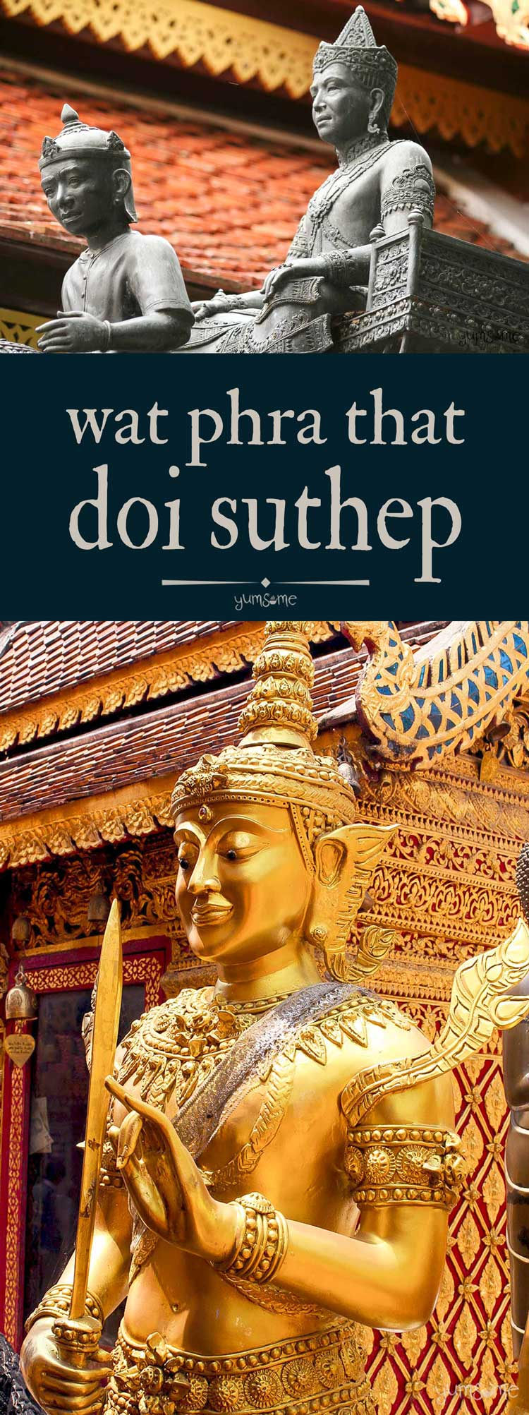 Founded in 1383 by the #Lanna king, Keu Naone, to house the relic of #Buddha\'s shoulder bone, the beautiful #temple, Wat Phra That #Doi #Suthep is home to one of Northern #Thailand\'s most sacred shrines. | yumsome.com