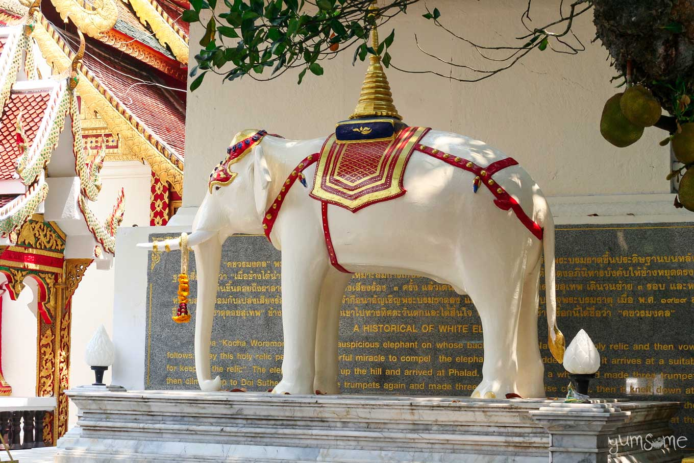 White elephant statue at Wat Phra That Doi Suthep, with a reliquary on its back.