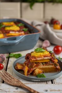 Stacked squash and tomato casserole