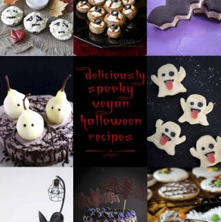 A collage of novelty Halloween foods.