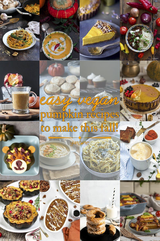 Pinterest collage of vegan pumpkin recipes.
