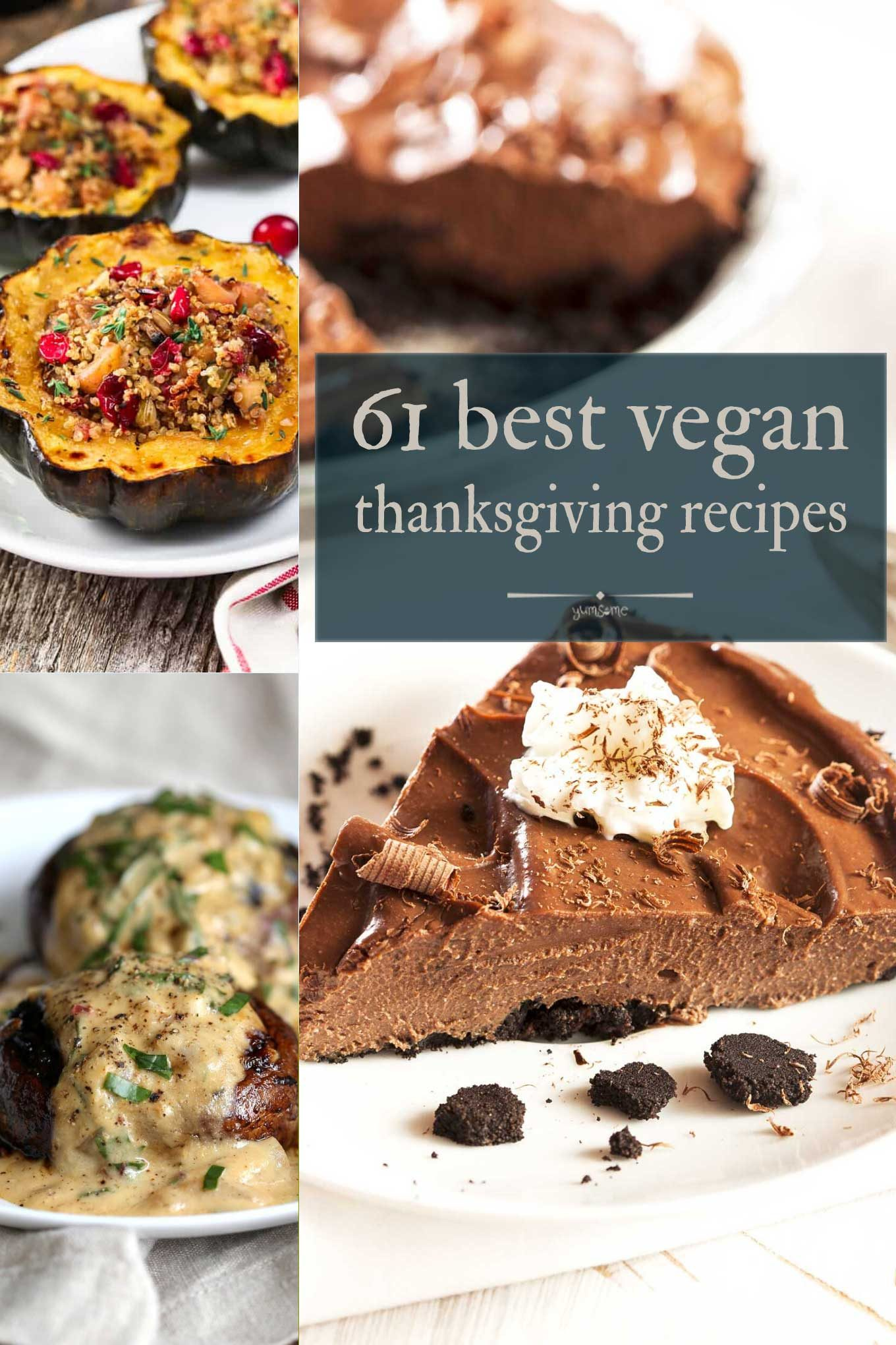 61 best vegan thanksgiving recipes collage.