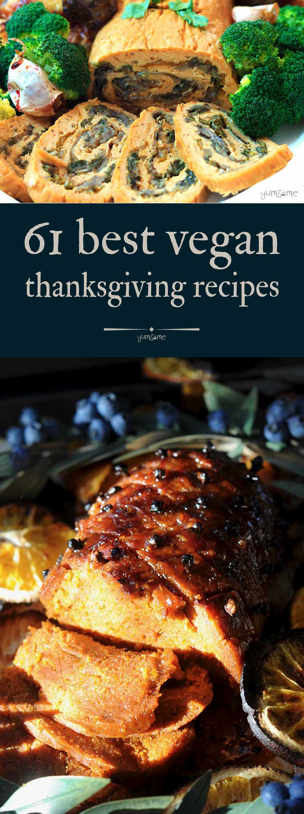 What are you doing for #Thanksgiving this year? Will you be staying at home to cook, or visiting family and friends? Will you be cooking up a feast, or taking a dish to share? Whatever your plans, you can be sure to find something to impress everyone at your table in this collection of 61 Best #Vegan Thanksgiving #Recipes! | yumsome.com