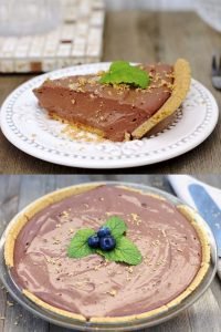 Two images of raw vegan chocolate pie.