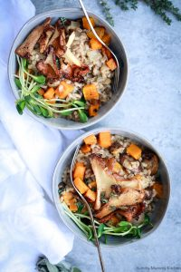 Two bowls of farro risotto.