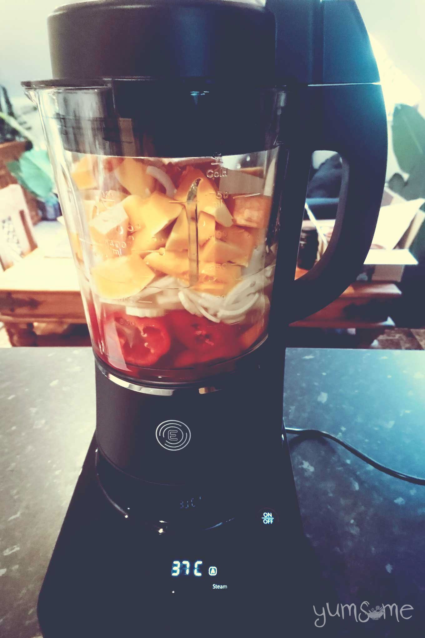 Chopped vegetables in the Froothie Evolve blender jug.