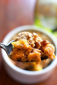 A spoonful of vegan sweet potato casserole.