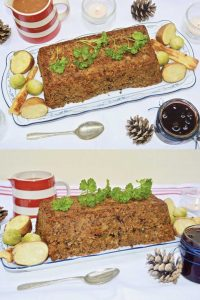 Two images of a vegan lentil and nut roast on a festively-decorated table.