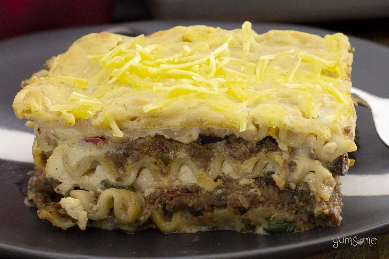 Closeup shot of a slice of Mariner Valley Lasagna.