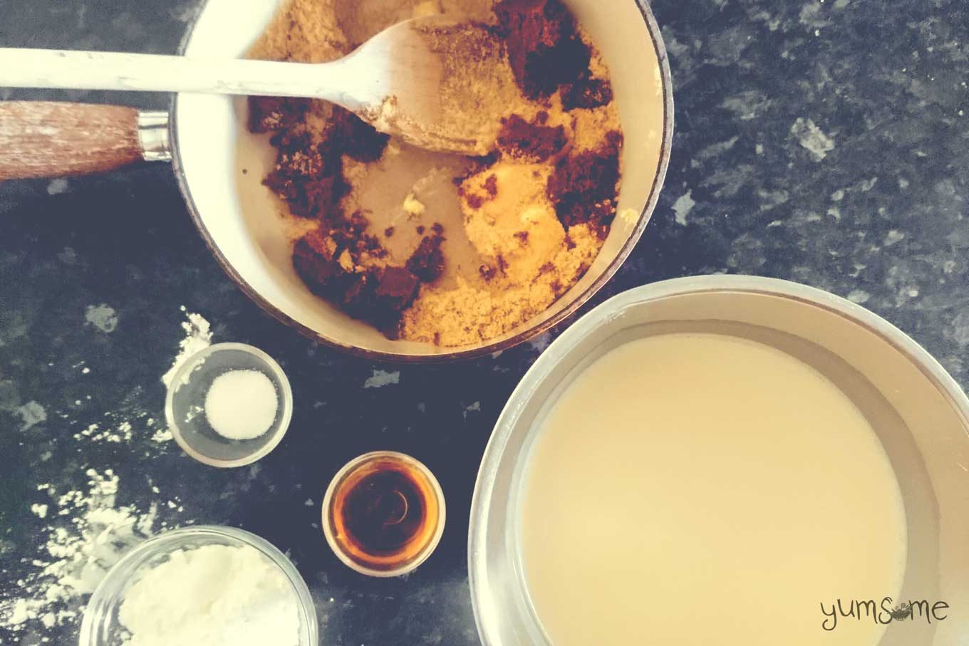 Ingredients for vegan butterscotch pudding.