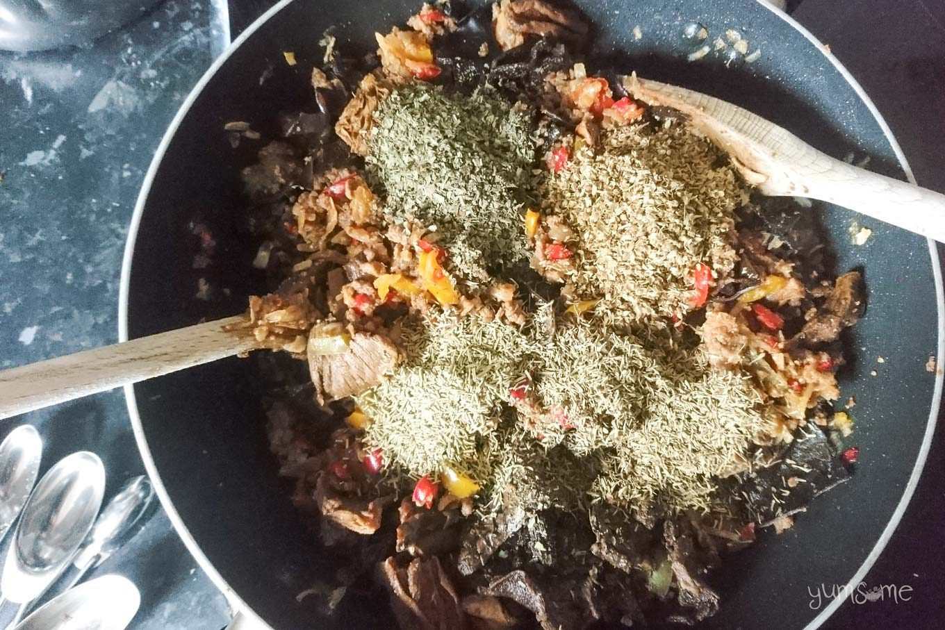 Various dried herbs added to the veggie mince mix.