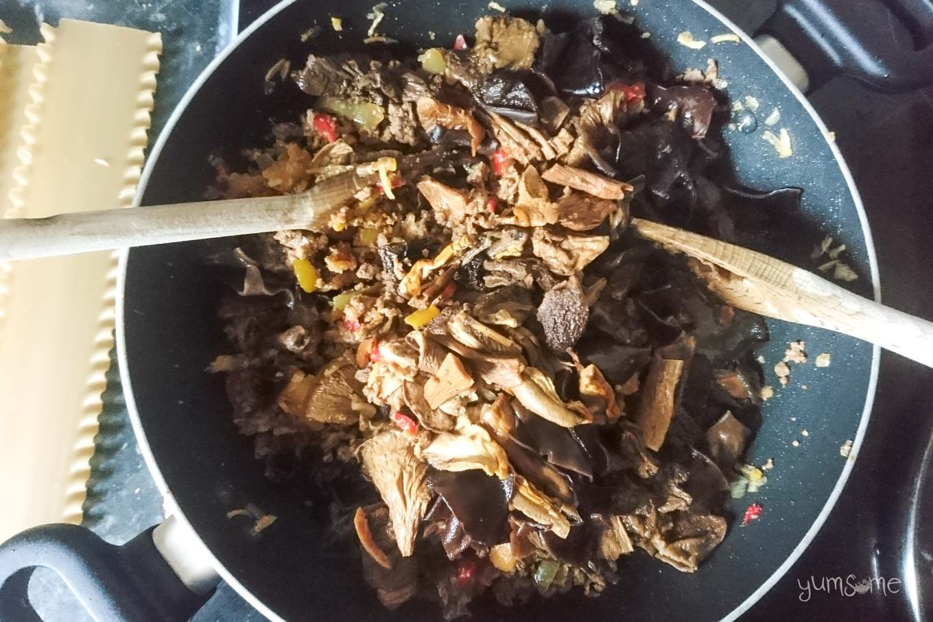 Re-hydrated mushrooms added to soy mince mix.