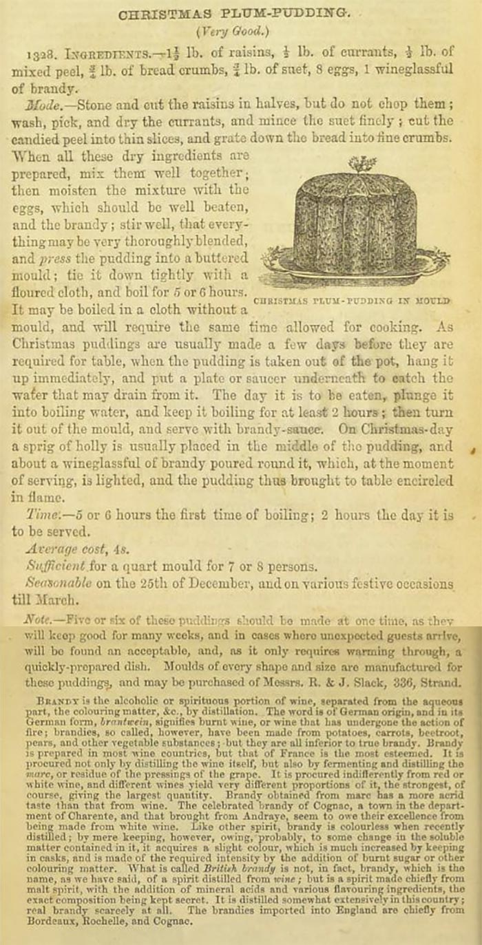 Plum Christmas pudding recipe from Mrs Beeton's Book of Household Management, 1861