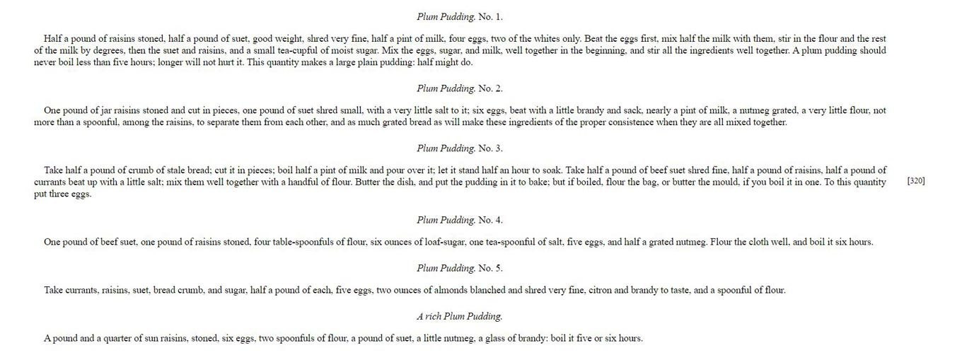Several plum pudding recipes from The Lady's Own Cookbook by Lady Charlotte Campbell Bury, 1844