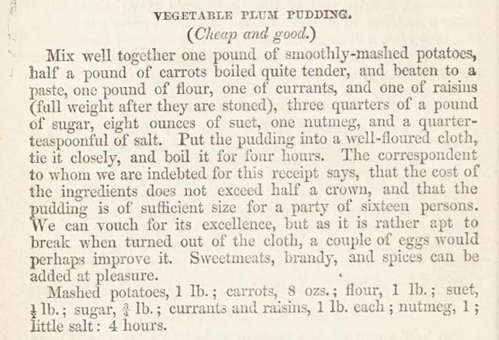 Vegetable plum pudding recipe From 'Modern cookery, in all its branches; reduced to a system of easy practice for the use of private families.' by Eliza Acton, 1845.