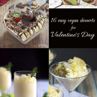 Pinterest collage of several images depicting 16 deliciously easy vegan desserts for Valentine's Day.