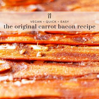 Original carrot bacon image with text overlay.