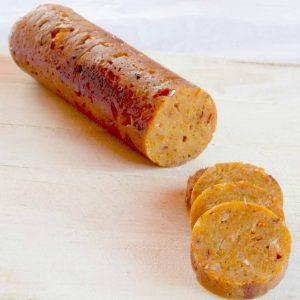 A soy-free vegan sausage.