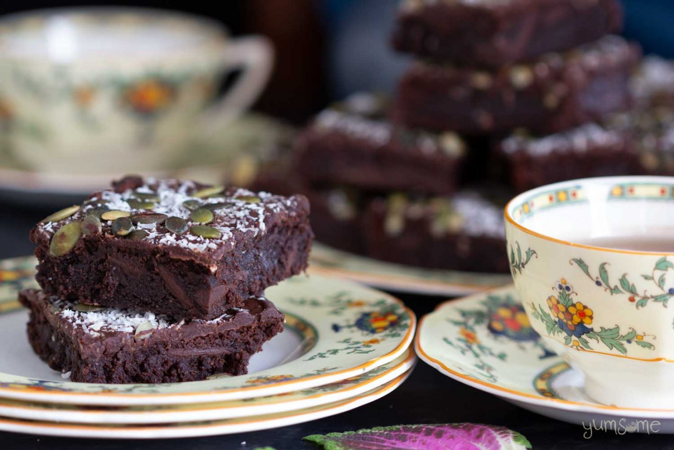 Fudge brownies and a cup of tea.