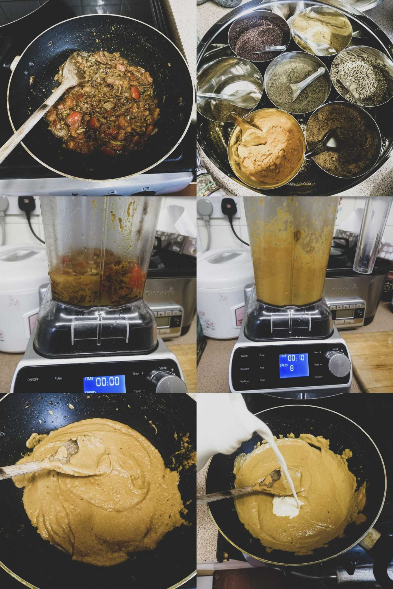 Montage of step by step process shots for how to make malai kofta gravy.