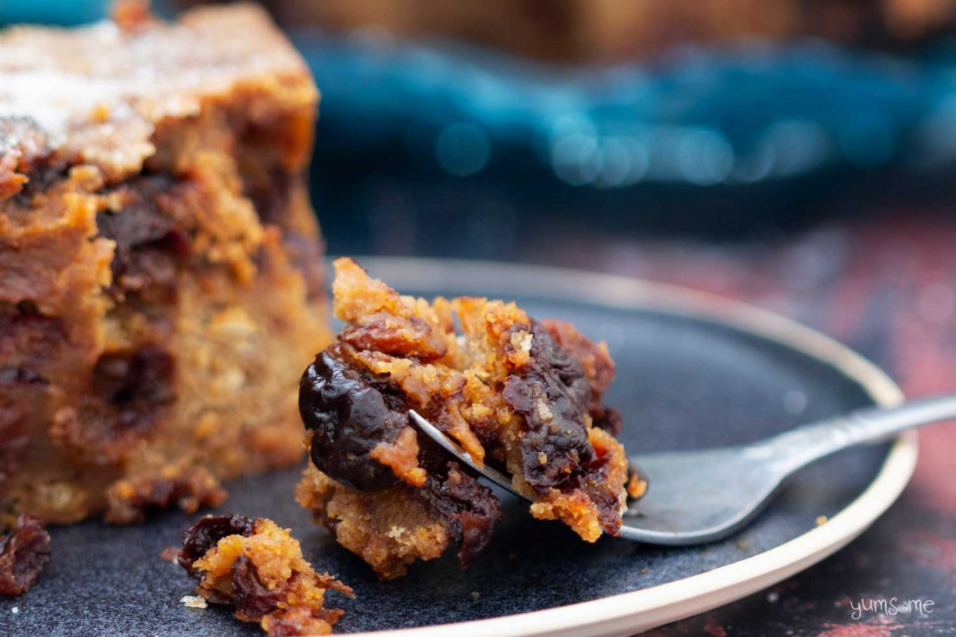 A forkful of festive bread pudding.